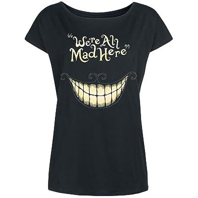 Alice au pays des merveilles T-shirt Mad Mouth Cheshire Cat Disney Loose Fit en coton noir