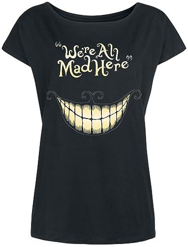 Alice nel paese delle meraviglie Ladies T-shirt Mad Bocca Cheshire Cat Disney Loose Fit cotone nero
