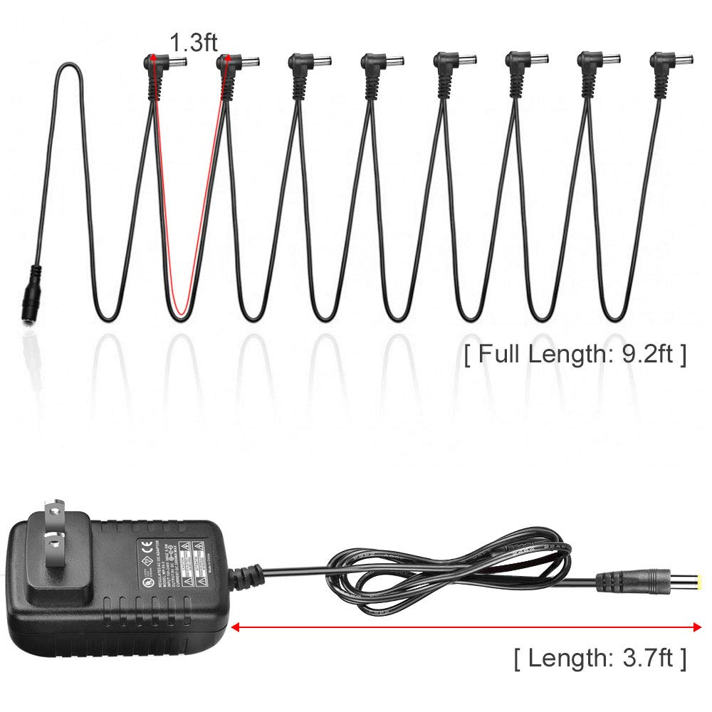 OTraki Pedal Power Supply 9V DC 1A Tip Negative 8 Way Daisy Chain Cable Cords for Guitar Multi Effect Pedal Board Adapter