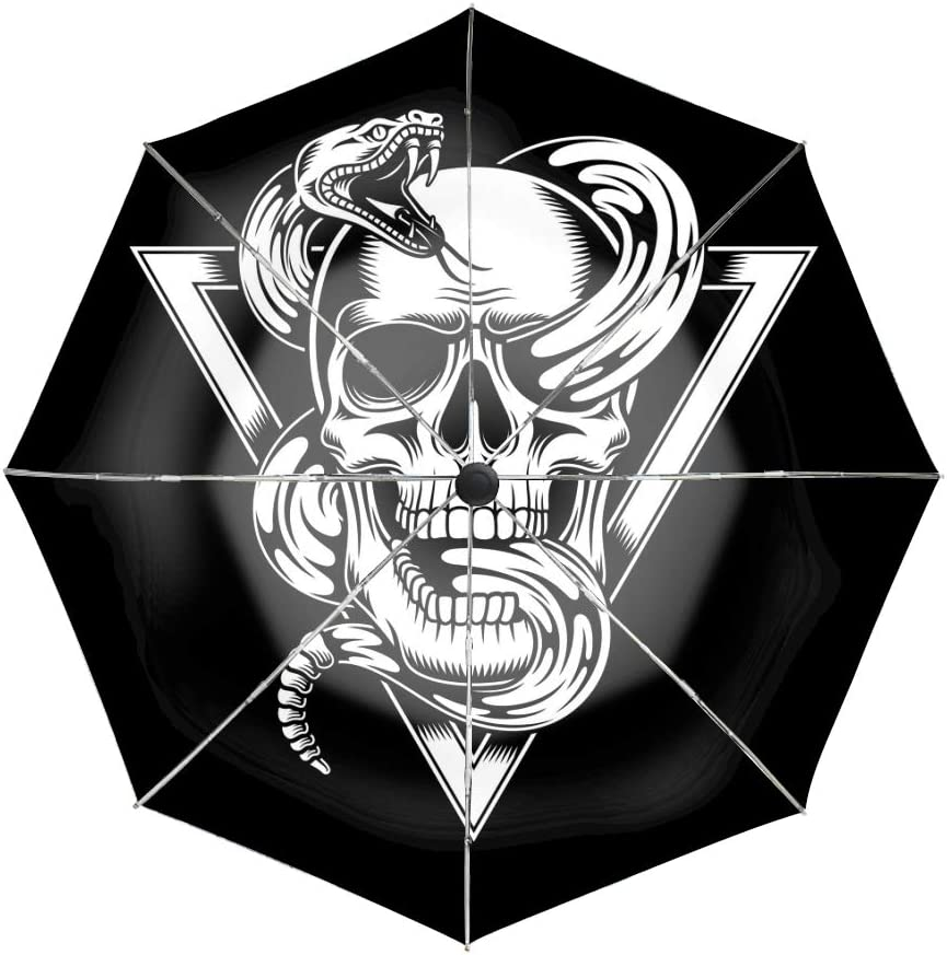 8 Ribs Finest Windproof Skull With Snake Umbrella with Teflon Coating Travel Umbrella Auto Open Close and Upgraded Comfort Handle