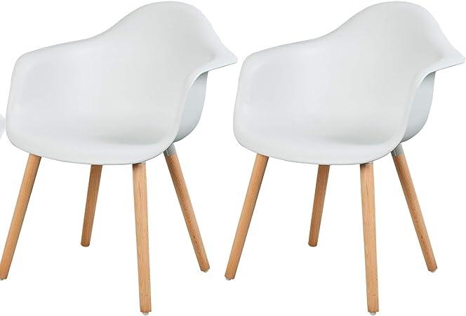 eSituro SDC0014-2 Pack de 2 Sillas de Comedor Silla de Oficina con Reposabrazos Silla Cocina PP Diseño Nórdico Patas Madera Blanco: Amazon.es: Hogar