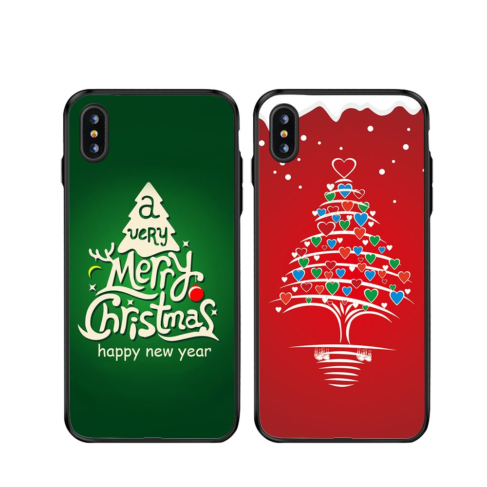 iPhone X Christmas Couple Cases,TTOTT 2X Christmas Gift Floral New Fashion Red & Green Christmas Tree Slim Bumper Anti Scratch Shockproof Matching Couple Christmas Cases for iPhone 10 5.8-inch