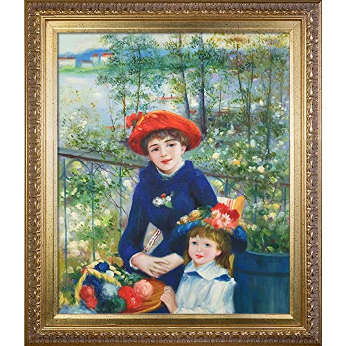 (overstockArt Two Sisters On The Terrace, 1881 Framed Oil Reproduction of an Original Painting by Pierre Auguste Renoir, Elegant Wood Frame, Gold Finish)