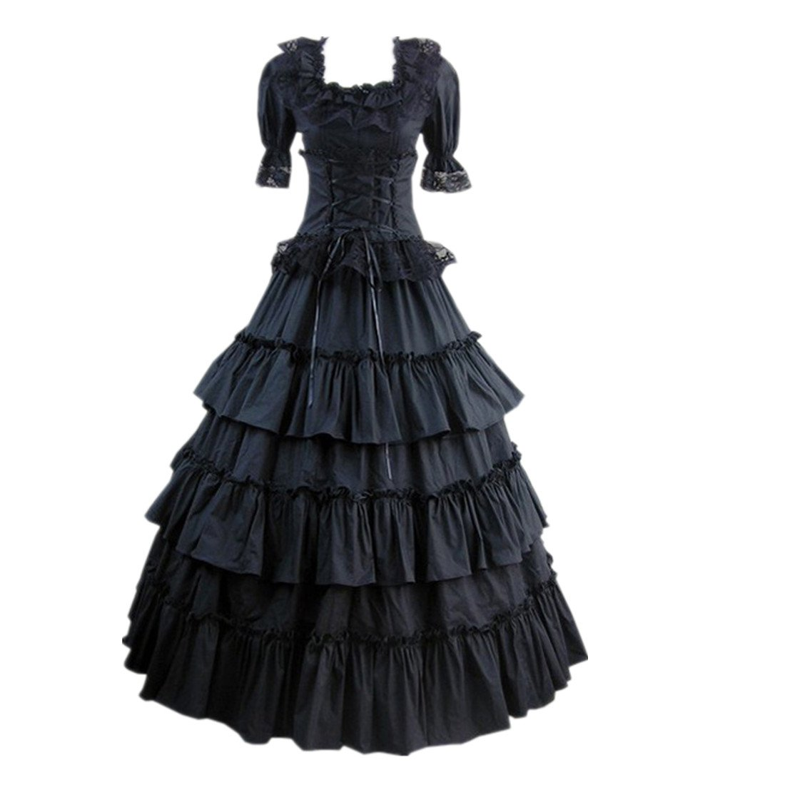 Amazon.com: Partiss Women Multi-Layer Floor-length Gothic Victorian ...