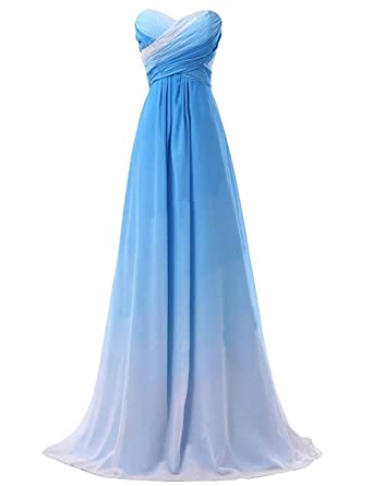 Onlinedress Womens Pleated Ombre Bridesmaid Dress Gradient Long Prom Gowns US2 Blue