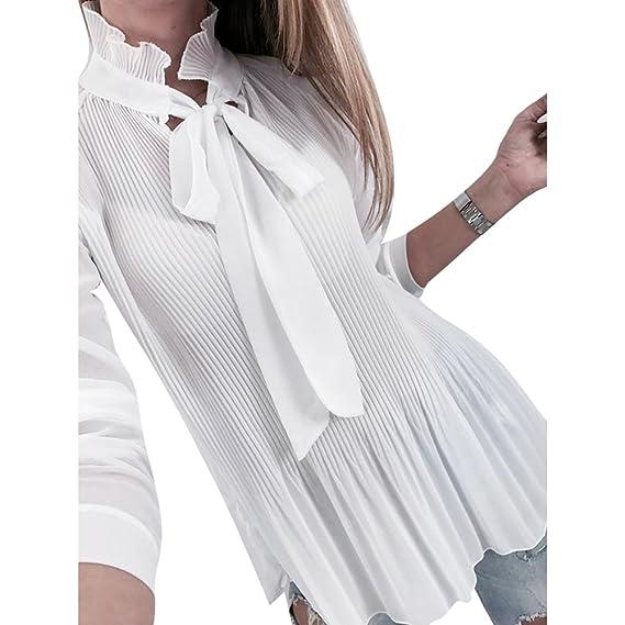 Hibote Mujer Blusa Manga Larga Camisas Plisada - Mujeres Tops de Volantes Color Liso Blusas con
