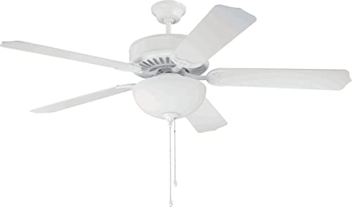 Craftmade C201W Downrod Flush Mount, 5 white Blades Ceiling fan, White