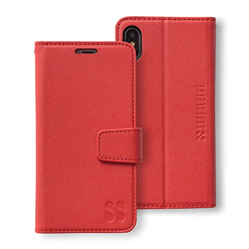 SafeSleeve Anti Radiation RFID iPhone Case: iPhone X and Xs ELF & RF Blocking Identity Theft Protection Wallet (Red)