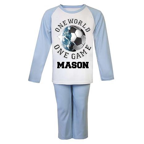 Fútbol personalizada pijama infantil pijama infantil personalizado regalos Pjs de Navidad niños un mundo un juego
