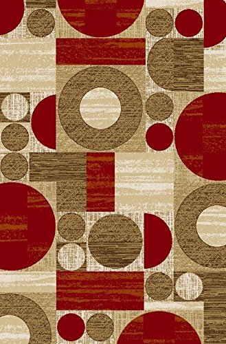 Non Slip Circular Mat (ADGO Collection, Modern Contemporary Rectangular Design Rubber-Backed Non-Slip (Non-Skid) Area Rugs| Thin Low Profile Indoor/Outdoor Floor Rug (4' x 6', AD10031 - Red Beige Circular))