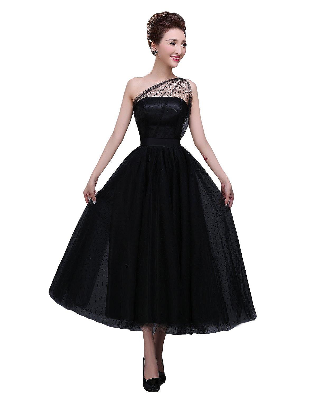 Bridal_Mall Women's One shoulder A-line Tea Length Tulle Evening Dress