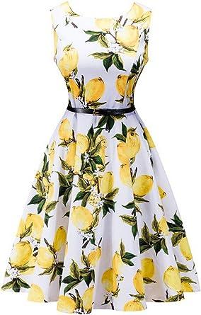 Wecos Women Retro One-piece Dress Sleeveless Full Dress