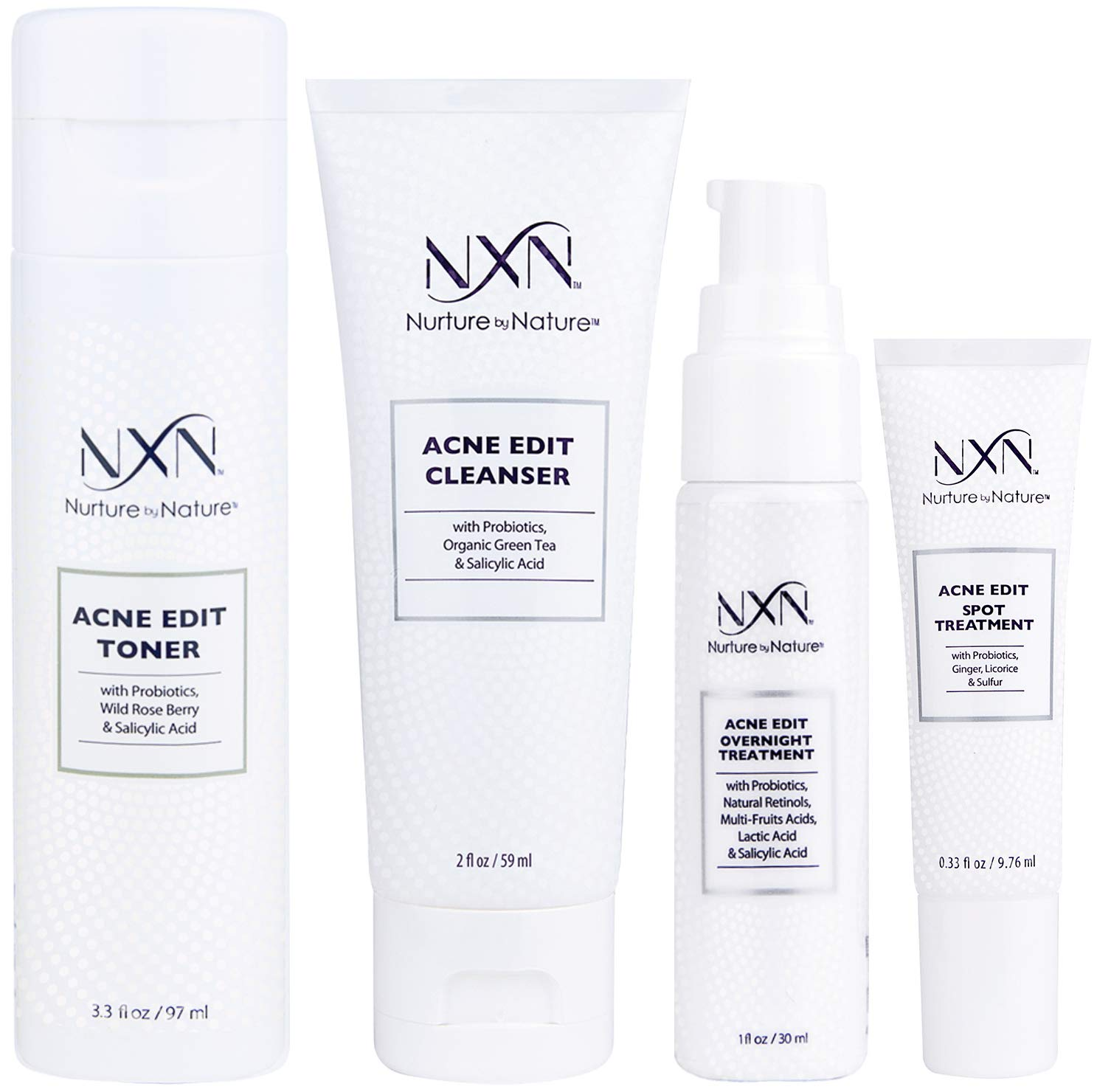 NxN Acne Treatment 4-Step Clear Skin System with Probiotics, Natural Multi-Fruit Extracts and Salicylic Acid for Acne Blemishes and Breakouts For all Skin Types (Including Sensitive Skin) by Nurture by Nature (Image #1)