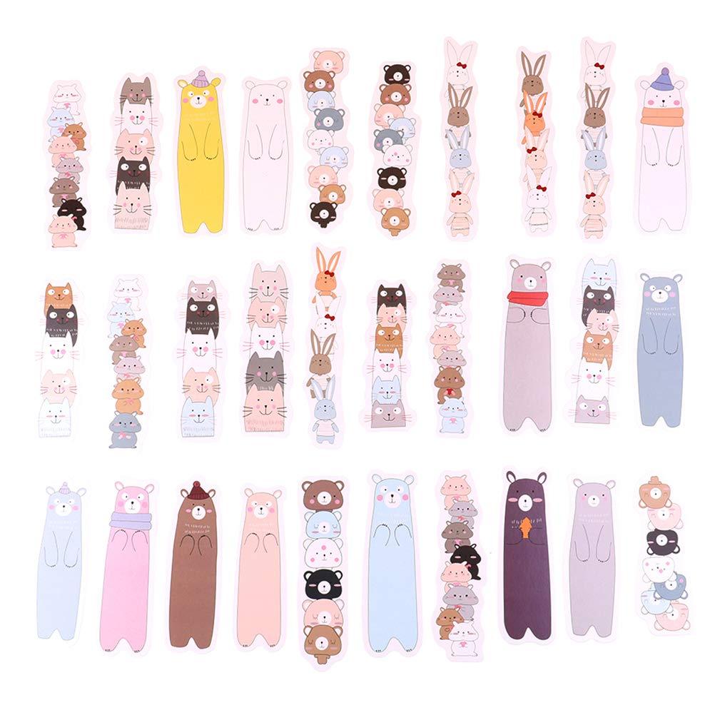 HonXins 30 Pcs Kawaii Cute Various Shaped Cartoon Animals Bear Rabbit Cat Bookmarks Bulk Beautiful Paper Bookmarks Bulk