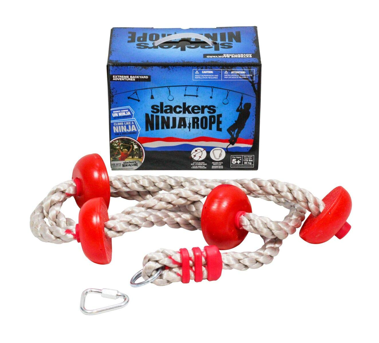 b4Adventure NinjaLine Ninja Climbing Rope with Foot Holds, Assorted Color, 8'