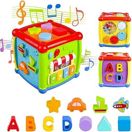 AiTuiTui Música Cubo de Actividades, 6 en 1 Incluye Caja de música ...