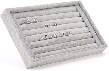 Caja Terciopelo para Joyas Bandejas para Joyas Joyero Anillos Pendientes Organizador Gaveta Display Box Regalos Cumpleaños 22,5 * 14,5 * 3 cm: Amazon.es: Belleza