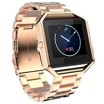 Ouneed For Fitbit Blaze Watch Band, Pulsera de Acero Inoxidable de Venda de Reloj de