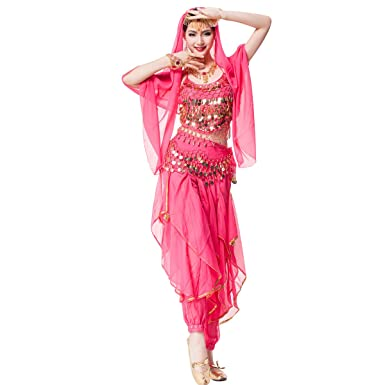 Womenu0027s Belly Dance Chiffon Bollywood Costume Indian Dance Outfit Halloween Costumes Necklace 5 Pieces Sets (  sc 1 st  Amazon.com & Amazon.com: Womenu0027s Belly Dance Chiffon Bollywood Costume Indian ...