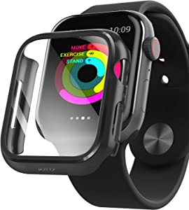 PZOZ Watch Case Compatible Apple Watch Series 5 / Series 4 44mm with HD Tempered Glass Screen Protector Accessories Matte Hard Bumper Cover Defense for Women Men iWatch (Black)