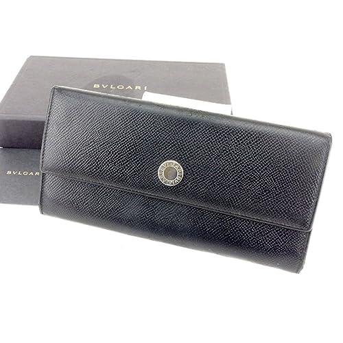 b52a385af2f1 (ブルガリ) Bvlgari 長財布 財布 ファスナー付き ブラック シルバー ロゴボタン レディース メンズ 可