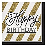 Creative Converting 317546 16 Count Paper Lunch Napkins, Happy Birthday, Black and Gold