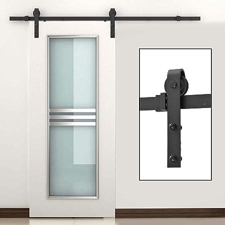 HOMCOM Puertas Kit de Accesorios para Puerta Correderas de Granero Puerta Montaje Juego de Piezas de Metal Rieles Rodillo Acero de Carbono: Amazon.es: Juguetes y juegos