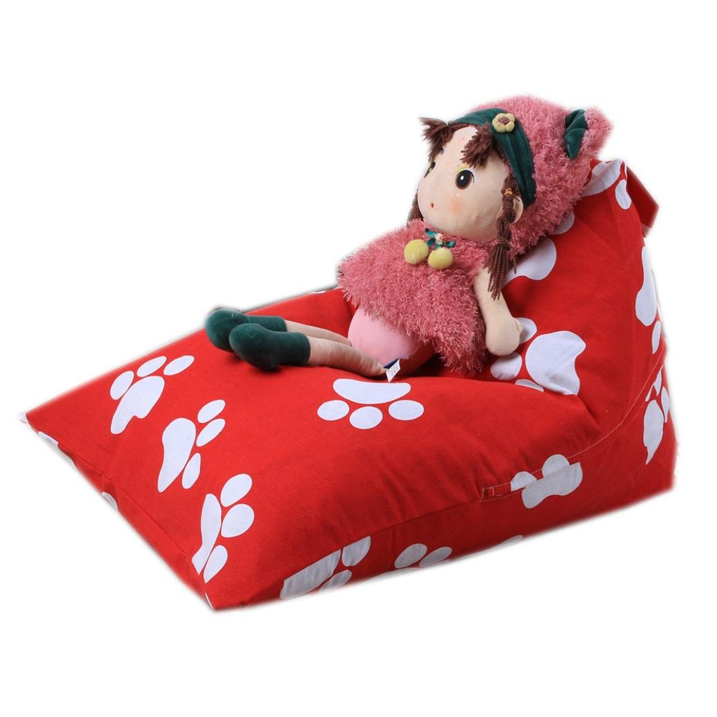 Cinhent Bag 1PC Home Storage & Organization Kids Stuffed Animal Plush Toy Bean Bag,Pouch Stripe Fabric Chair,Soft,Double Zipper + Stitch,Convenient Tidy Up Towel Dress Up Quilt Closet (A)