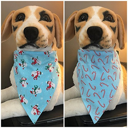 (Reversible Over The Collar Pet Bandana Scarf Candy Canes and Snowmen Winter Christmas Dogs Cats slide on 2 in 1)