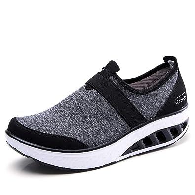 8f51c544ded19 ZYEN Women Comfortable Walking Shoes Fashion Slip On Sneakers Platform  Wedge Loafers Shoes Black 5.5 US