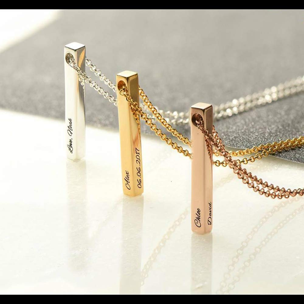 LONAGO Personalized Vertical Bar Name Necklace Customized 3D 4 Sided Engravable Cuboid Stick Pendant Sterling Silver Brass Jewelry Gift for Women Girls
