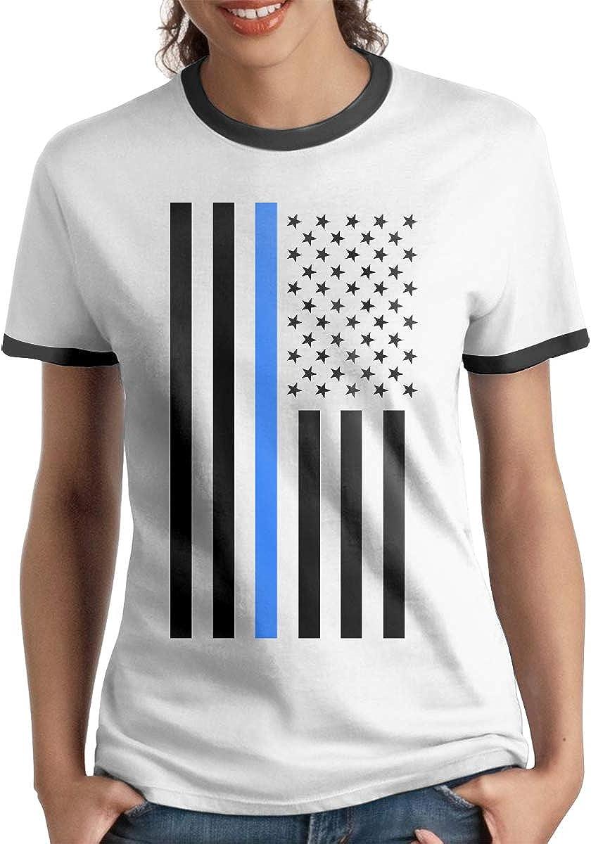 Queen Elena Playera de algodón con diseño de Bandera de Estados Unidos, Color contrastante, Manga Corta, Camisetas y Camisetas a la Moda, Casual, para Parejas Negro Negro (L: Amazon.es: Ropa y accesorios