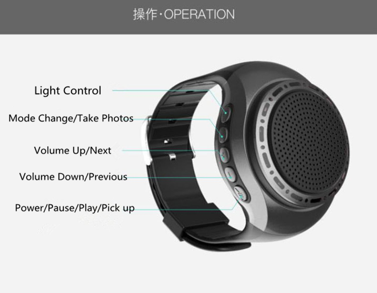 Jinjing U6 Watch Bluetooth Speakers with Radio Function Stereo Hand Wearing Sports MP3 Player (Silver)
