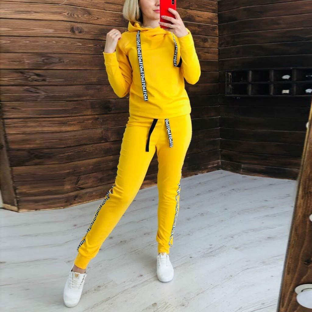 Dainzuy Womens 2 Piece Outfits Sweatsuits Long Sleeve Stripe Hoodie Sweatshirts Casual Long Pants Jogger Tracksuit Set
