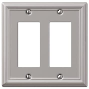 Double Gfci Decora Rocker Wall Switch Plate Outlet Cover Brushed Nickel
