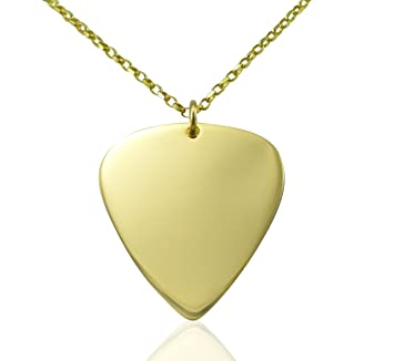 Solid 9ct gold guitar pick pendant 18 inch necklace gift for solid 9ct gold guitar pick pendant 18 inch necklace gift for guitarists players musicians mozeypictures Image collections