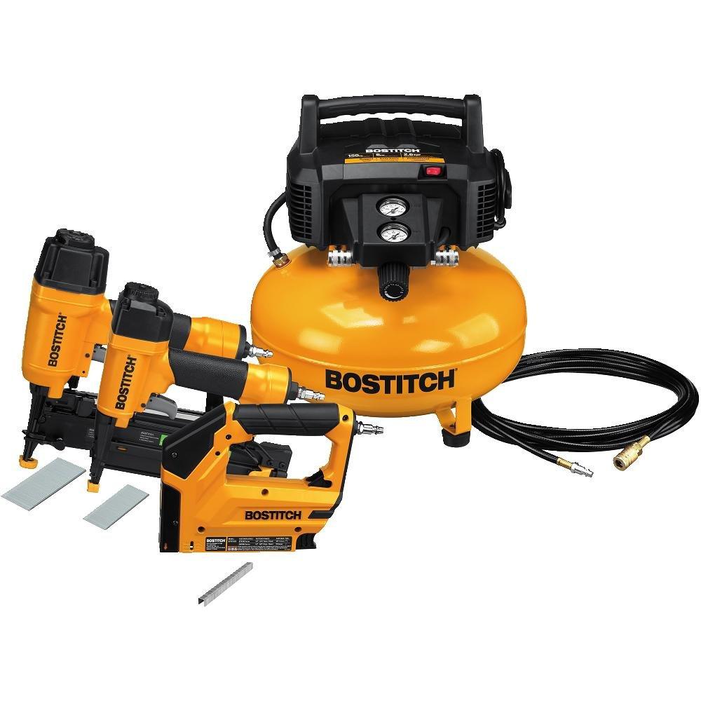 BOSTITCH U BTFP3KIT 3-Tool and Compressor Combo Kit Certified Refurbished