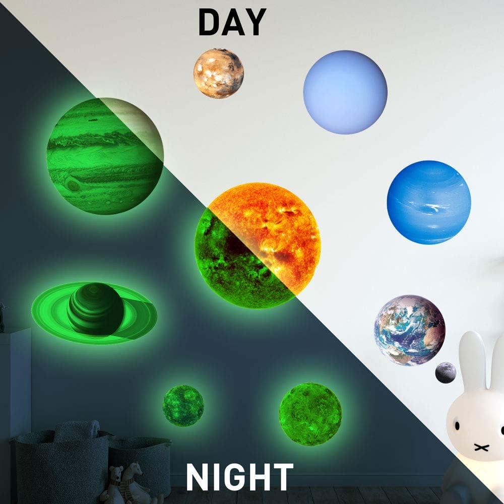 Haihuic Planeta Resplandor en la Oscuridad Etiquetas engomadas de la Pared y del Techo Dormitorio para ni/ños y ni/ñas Luz de la Noche Luminosa Etiqueta de la Pared Etiquetas del Sistema Solar