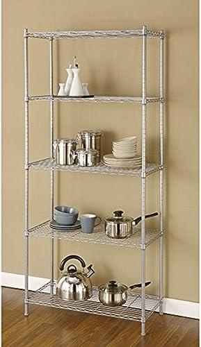 Artiva USA 9907P 5 Shelf Wire Shelving Rack, 68 , Silver Gray