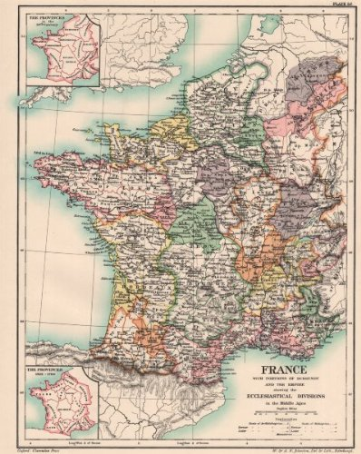 Medieval Map Of France.Amazon Com France Burgundy Empire Medieval Ecclesiastical