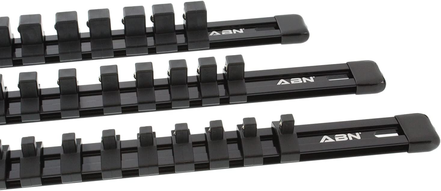 1//4in 1//2in Socket Rails and 16 Clips Tool Organizer 3//8in ABN Blue Aluminum SAE Socket Holder Rail 3-Piece Set