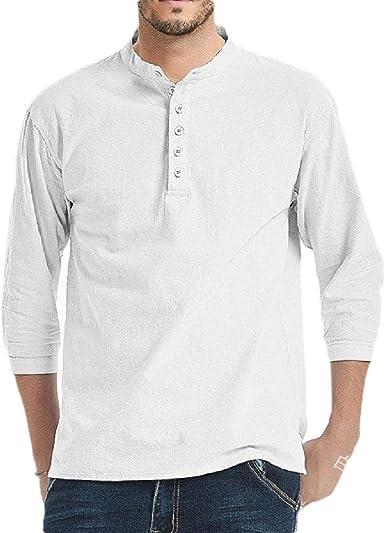 HANA+Dora Men Linen Beach Shirts Long Sleeve Casual Button Down Shirt