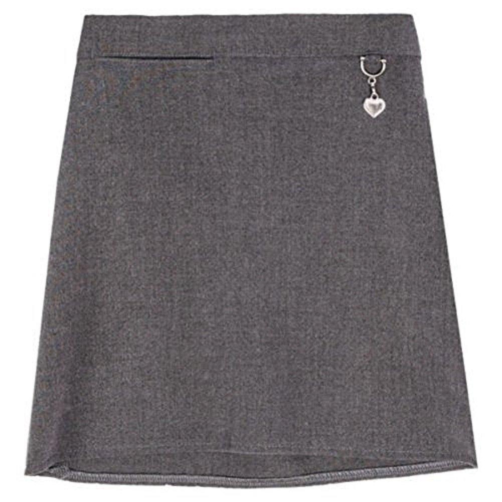 Momo/&Ayat Fashions Girls School Uniform Lycra Plain Skirt Elasticated Back with Heart Attachment Age 2-16
