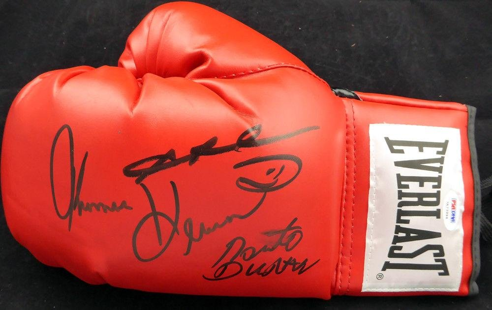 Boxing Greats Autographed Glove 3 Sigs Leonard Hearns Duran 119703 PSA/DNA Certified Autographed MLB Gloves
