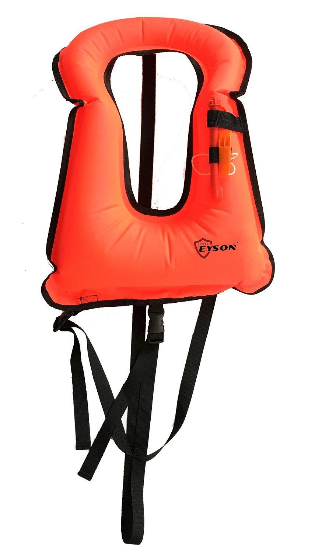 Eyson Adult Unisex Inflatable Snorkel Vest Life Jacket Life Vest for Snorkeling Diving Swimming (Red)