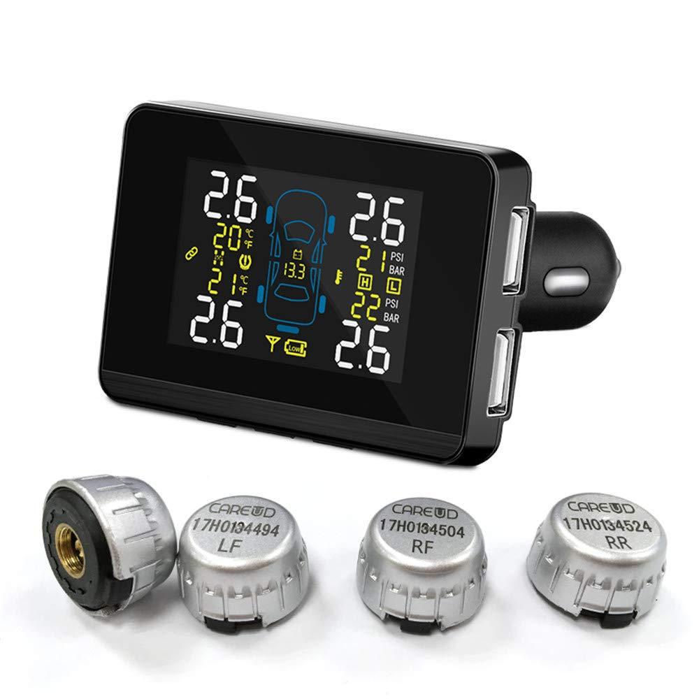 JCOLI Universal Car Tire Pressure Monitor System TPMS with 2 Dual USB Port 4 Extenal Sensors