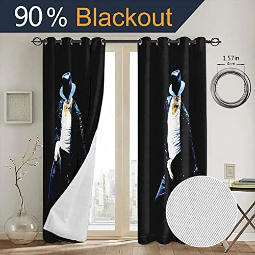 Grommet Curtains for Bedroom Michael Jackson Insulated Curtains for boy Living Room W84 x L84 Inch