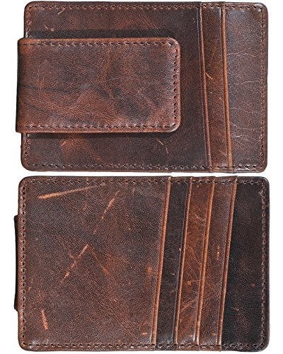Mens Money Clip Wallet RFID Slim Wallet Genuine Leather Thin Front Pocket Wallet (Coffee (Oil Wax Leather)) by Yuhan Pretty (Image #6)