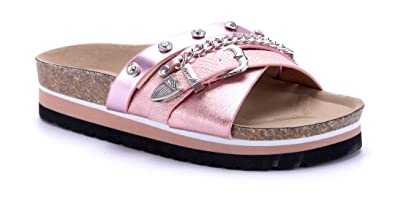819e76f33c2cfa Schuhtempel24 Damen Schuhe Pantoletten Sandalen Sandaletten rosa flach  Schnalle Ziersteine   Zierkette