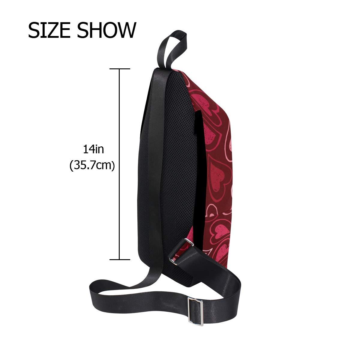 AHOMY And Red Love Heart Messenger Bag Small Travel School Sling Bag Crossbody Bag